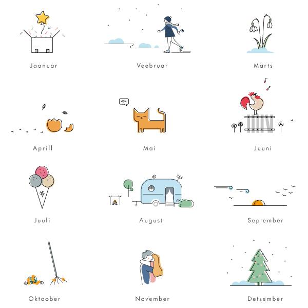 Kalender Märgi ära 2020 illustratsioonid