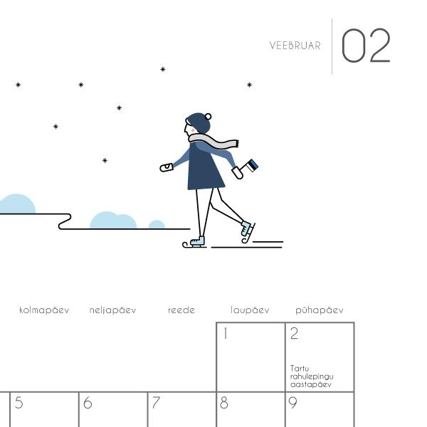 Kalender Märgi ära 2020 veebruarikuu illustratsioon