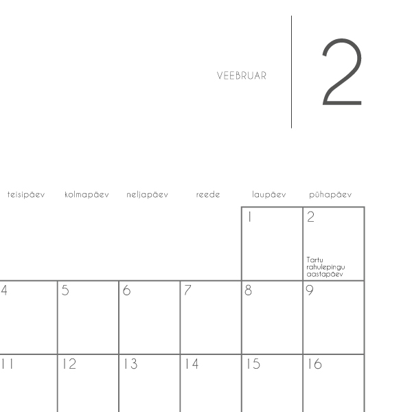 """Kalender """"Märgi ära"""" 2020 / mustvalge disain"""