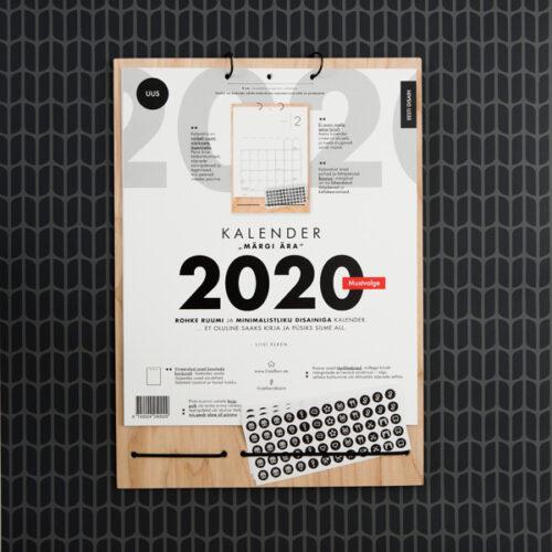 Kalender Märgi ära 2020 / mustvalge